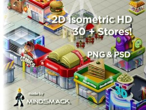 2D Isometric Store Buildings HD