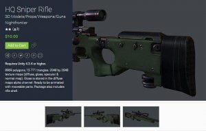 HQ Sniper Rifle for free (unityassets4free)