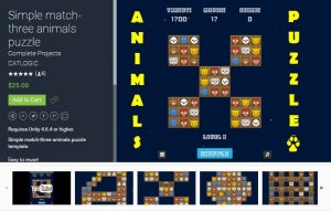 Simple match-three animals puzzle