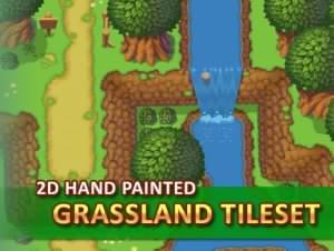 2D Hand Painted – Grassland Tileset