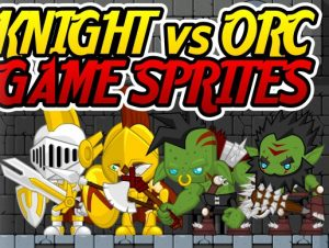 Knight vs Orc Game Sprites