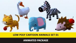 Cartoon Cute Animals Low Poly Pack – 01 AR VR Games Movies VR / AR / low-poly 3d model