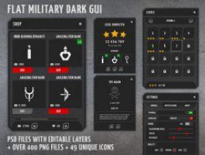 Flat military, dark, 4k GUI Kit – over 400 PNG files!
