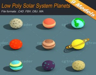 Low Poly Solar System Planets Isometric 3D model