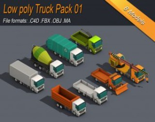 Low Poly Truck Pack 01 Isometric 3D model