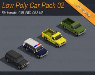 Low Poly Truck Pack 02 Isometric 3D model
