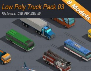 Low Poly Truck Pack 03 Isometric 3D model