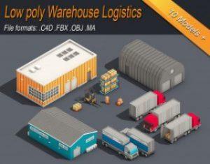 Low-Poly-Warehouse-Logistics-Isometric-3D-model