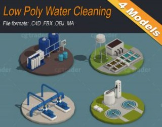 Low Poly Water Cleaning Isometric 3D model