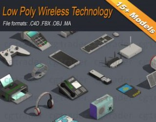 Low Poly Wireless Technology Isometric 3D model