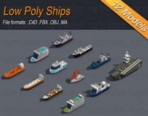 Low-poly-Ships-pack-01-Isometric-Low-poly-3D-model