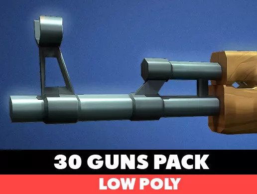 30 Low Poly Guns pack