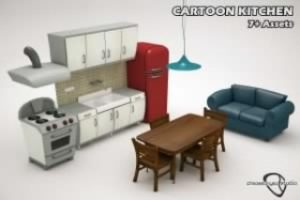 Read more about the article Cartoon Kitchen Bundle Low-poly 3D model