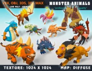 Low-Poly-Monster-Cartoon-Collection-02-Animated