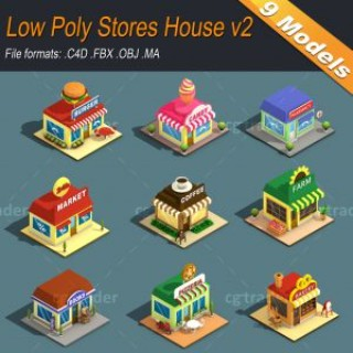 Low Poly Stores House ver 2 Isometric Low-poly 3D model