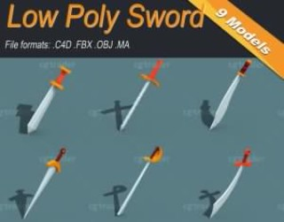 Low Poly Sword Isometric Icon Low-poly 3D model
