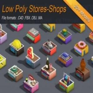 Read more about the article Low poly Stores Shops Isometric Low-poly 3D model