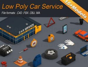 Low Poly Car Service Engine Repair Isometric