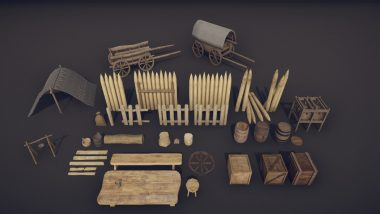 Medieval Props – Mega Pack Low-poly 3D model