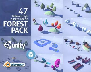 Read more about the article Cartoon Low Poly Forest Pack Low-poly 3D model